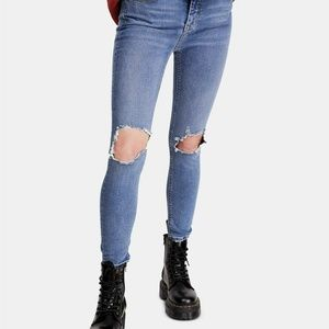 Free People Size 28 Busted Knee Skinny Jeans 3Y68